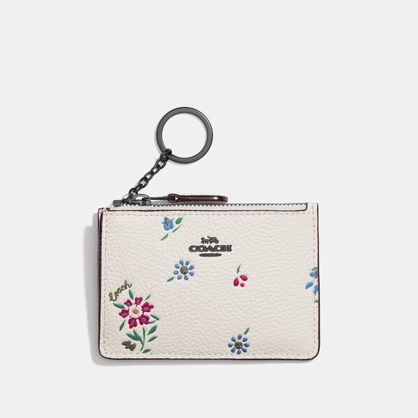 Mini Skinny Id Case With Wildflower Print, V5/CHALK, hi-res