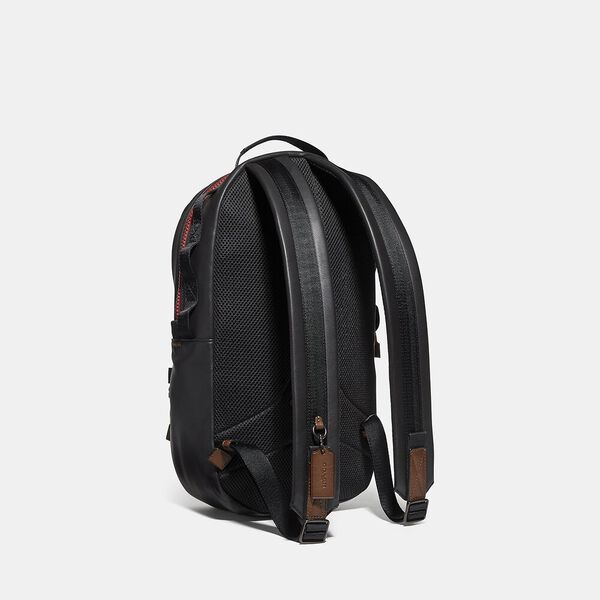 Pacer Backpack In Colorblock Signature Canvas With Coach Patch, JI/KHAKI/TRUE NAVY, hi-res