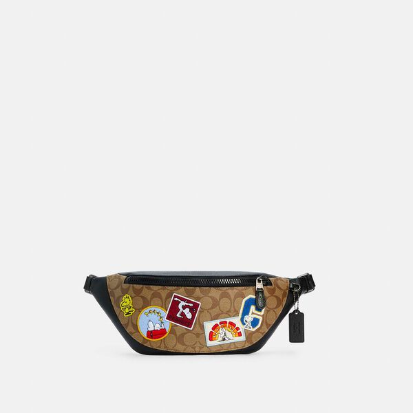 Coach X Peanuts Warren Belt Bag In Signature Canvas With Varsity Patches
