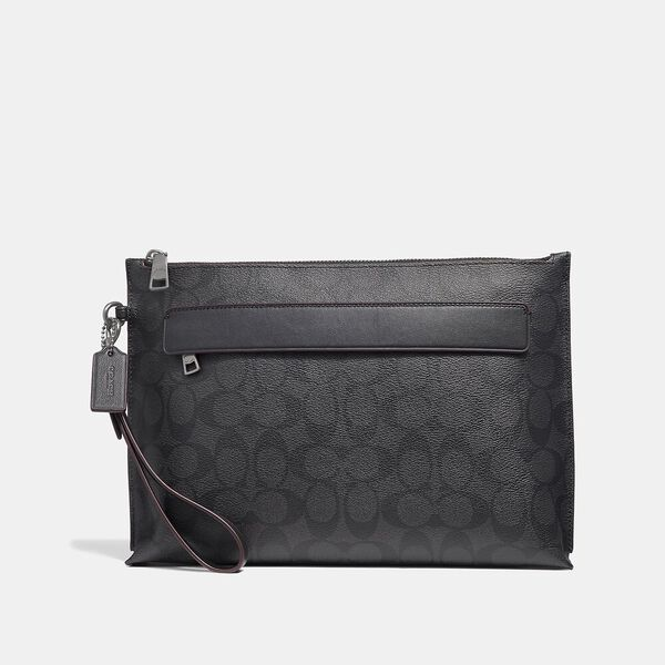 Carryall Pouch In Signature Canvas, BLACK/BLACK/OXBLOOD, hi-res
