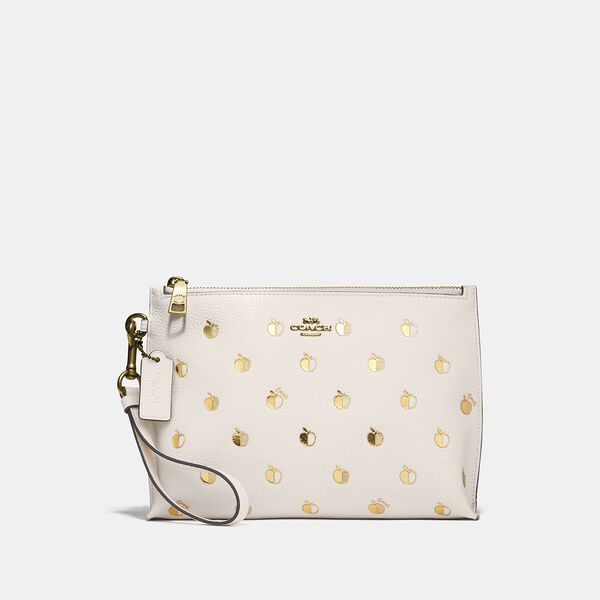 Charlie Pouch With Apple Print, B4/CHALK MULTI, hi-res