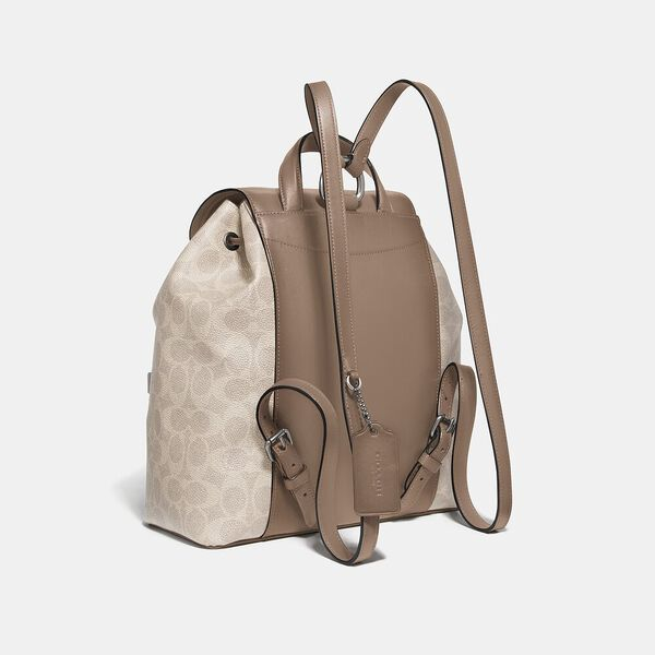 Evie Backpack In Signature Canvas, Lh/Sand Taupe, hi-res