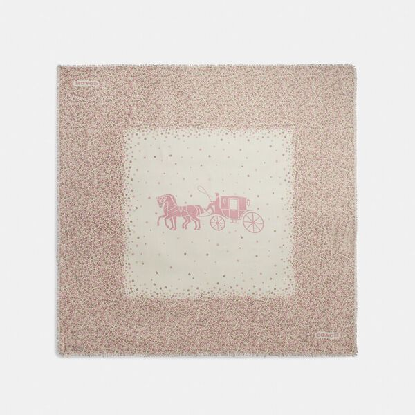 Horse And Carriage Tea Rose Print Oversized Square Scarf
