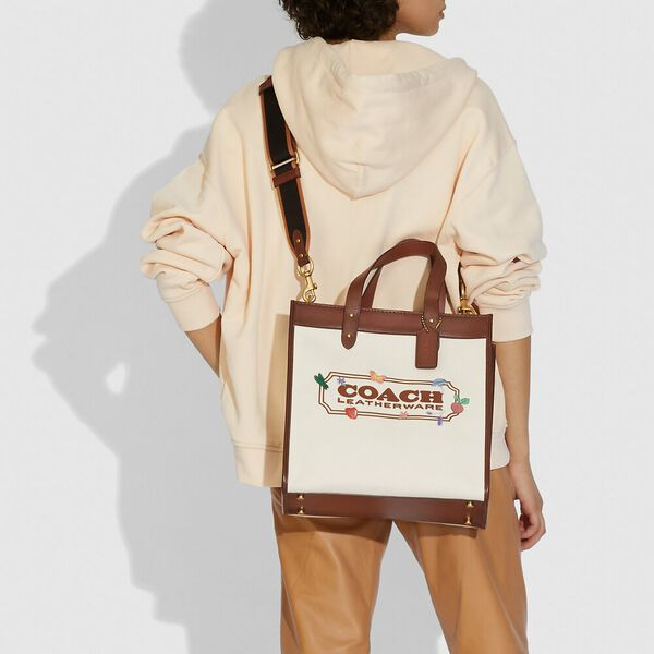 Field Tote With Garden Embroidery Coach Badge, B4/NATURAL, hi-res