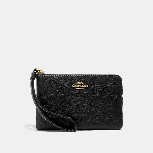 Corner Zip Wristlet In Signature Leather
