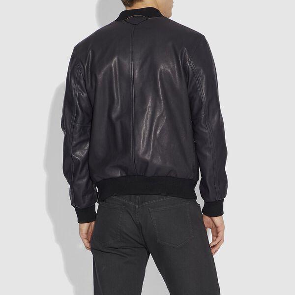 Leather Ma-1 Jacket, MIDNIGHT, hi-res