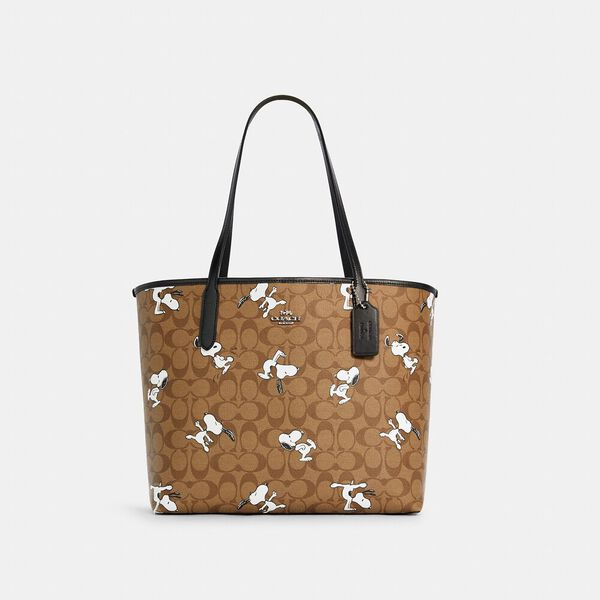 Coach X Peanuts City Tote In Signature Canvas With Snoopy Print