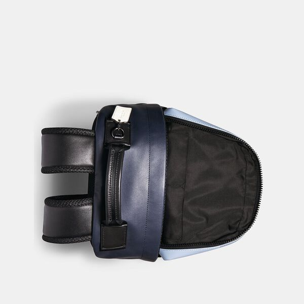 Edge Backpack In Colorblock Signature Canvas With Coach Patch, QB/PEBBLE BLUE CHARCOAL, hi-res
