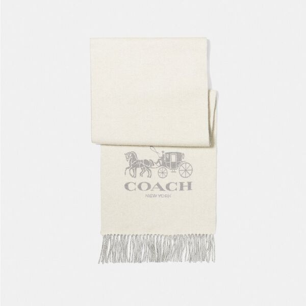 Horse And Carriage Cashmere Muffler, CHALK/GREY, hi-res