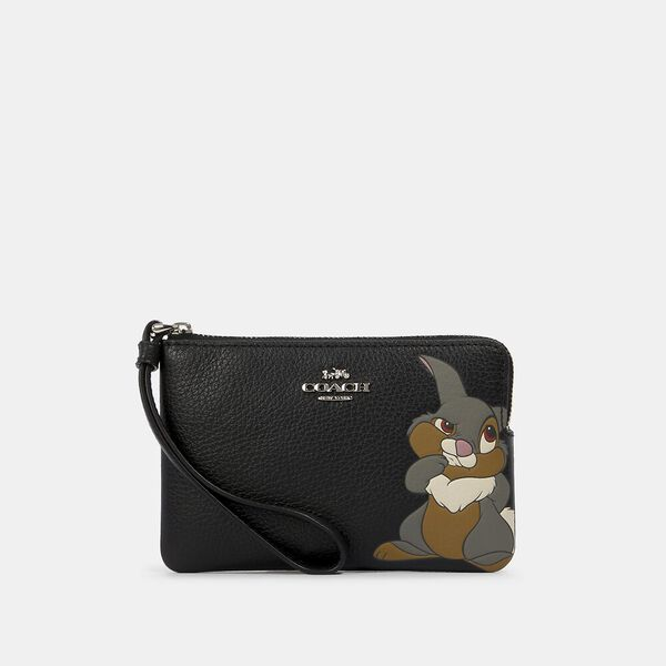 Disney X Coach Corner Zip Wristlet With Thumper