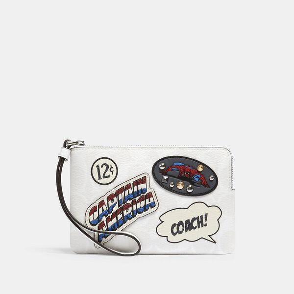 Coach x Marvel Corner Zip Wristlet In Signature Canvas With Patches, SV/CHALK MULTI, hi-res