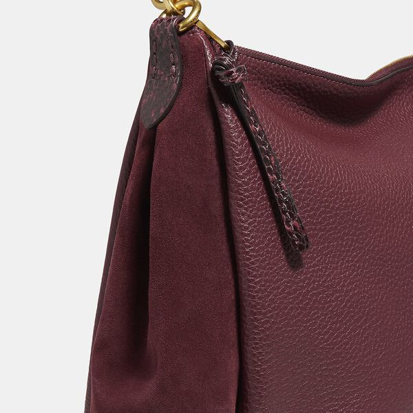 Shay Shoulder Bag With Snakeskin Detail, B4/WINE, hi-res