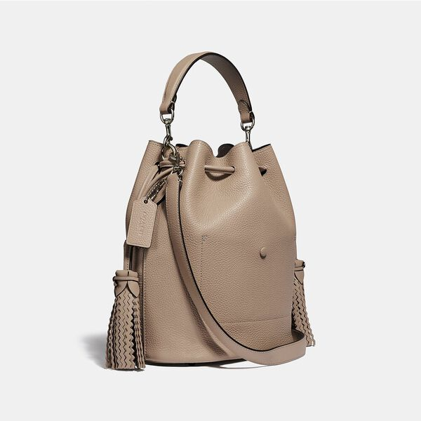 Lora Bucket Bag With Whipstitch Detail, LH/TAUPE, hi-res