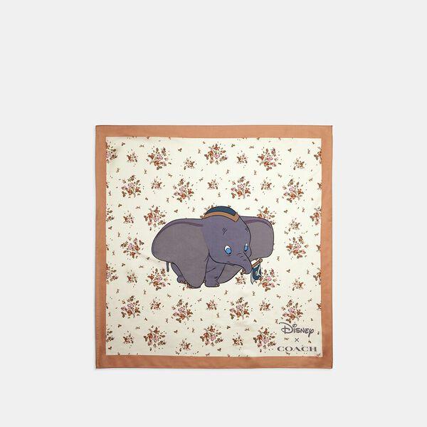 Disney X Coach Dumbo Rose Bouquet Print Silk Bandana, CHALK, hi-res