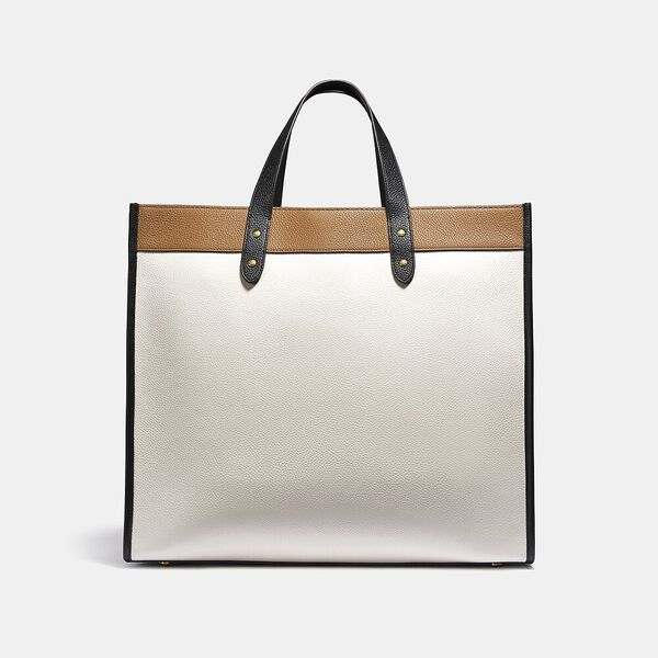 Field Tote 40 In Colorblock With Coach Badge, B4/CHALK MULTI, hi-res