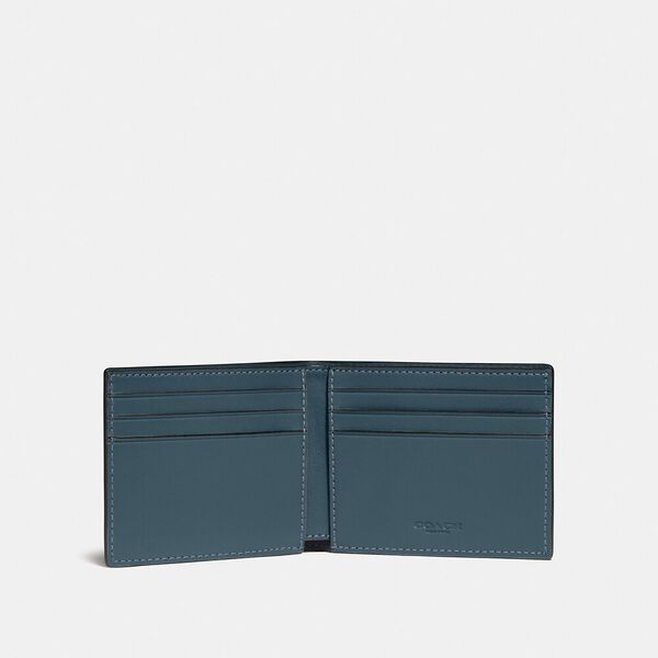 Slim Billfold Wallet In Colorblock, DEEP BLUE/PRUSSIAN, hi-res