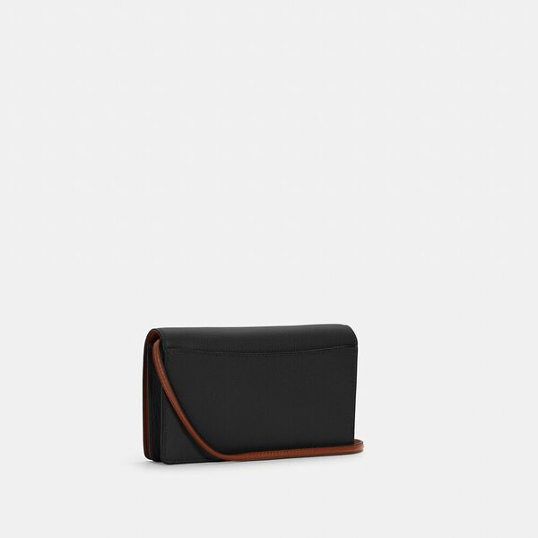 Anna Foldover Crossbody Clutch With Horse And Carriage, IM/BLACK/REDWOOD, hi-res