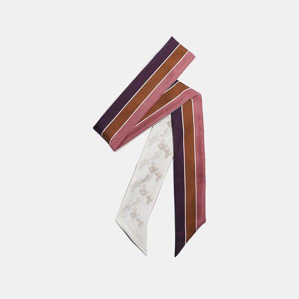 Diagonal Horse And Carriage Varsity Stripe Print Silk Skinny Scarf, Chalk, hi-res