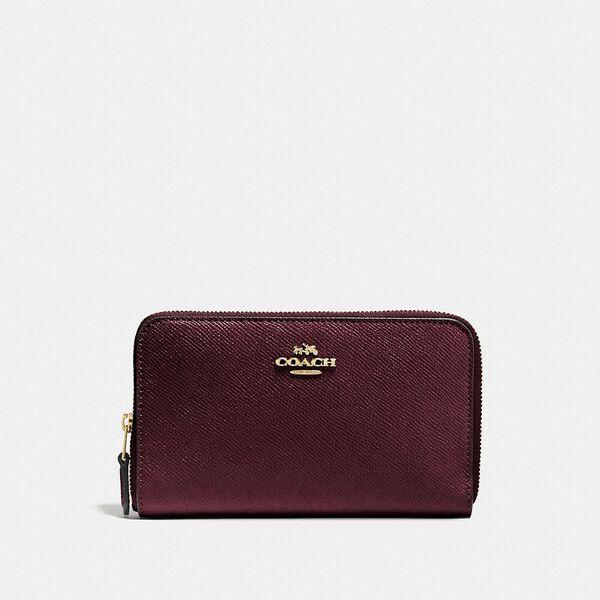 Medium Zip Around Wallet, LI/OXBLOOD, hi-res