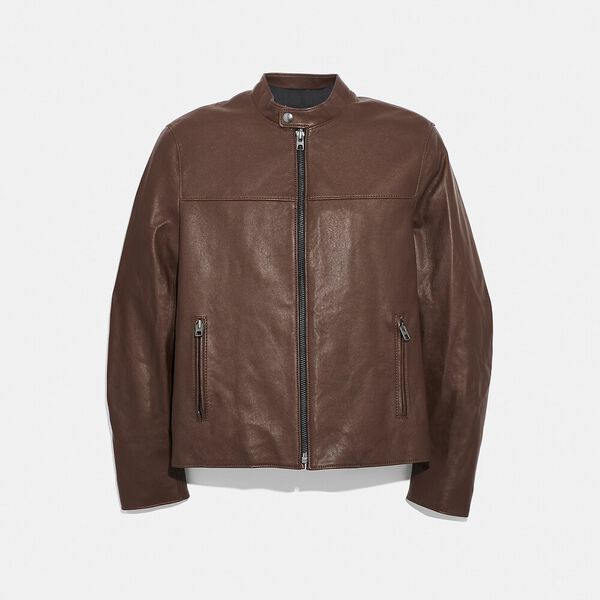 Leather Racer Jacket, DARK FAWN, hi-res