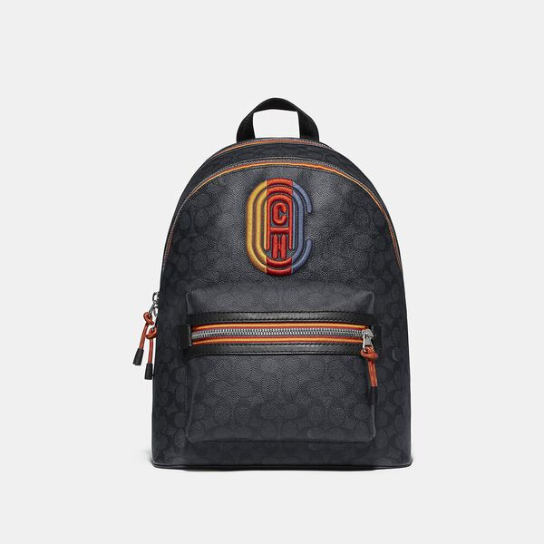 Academy Backpack In Signature Canvas With Varsity Zipper, sv/charcoal multi, hi-res