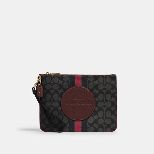 Dempsey Gallery Pouch In Signature Jacquard With Stripe And Coach Patch, IM/BLACK WINE MULTI, hi-res