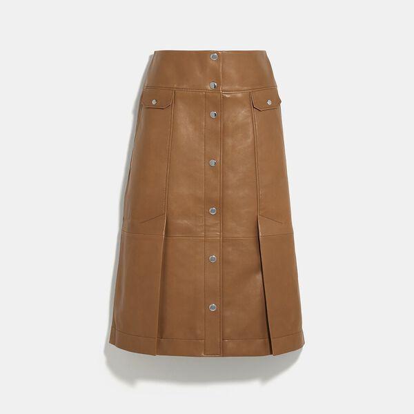 Leather Midi Skirt, PENNY, hi-res