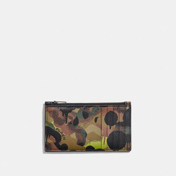 Zip Card Case With Camo Print, NEON/YELLOW/BROWN, hi-res