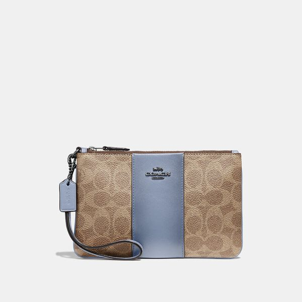 Small Wristlet In Colorblock Signature Canvas, V5/Tan Bluebell, hi-res