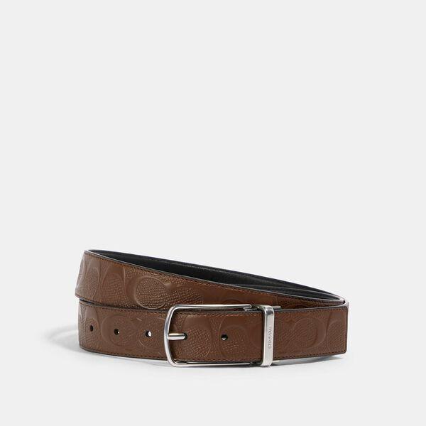 Skinny Buckle Cut-To-Size Reversible Dress Belt, 32Mm, SV/DARK SADDLE BLACK, hi-res