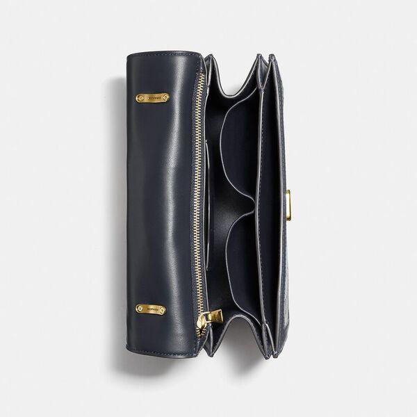 Alie Shoulder Bag In Signature Jacquard With Snakeskin Detail, B4/NAVY MIDNIGHT NAVY, hi-res