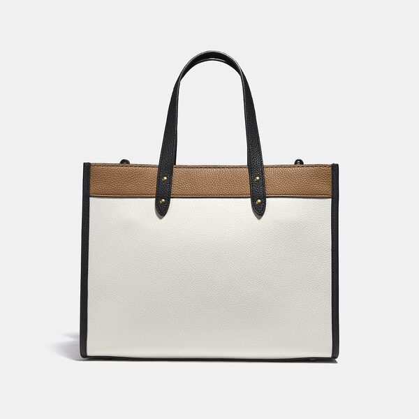 Field Tote 30 In Colorblock With Coach Badge, B4/CHALK MULTI, hi-res