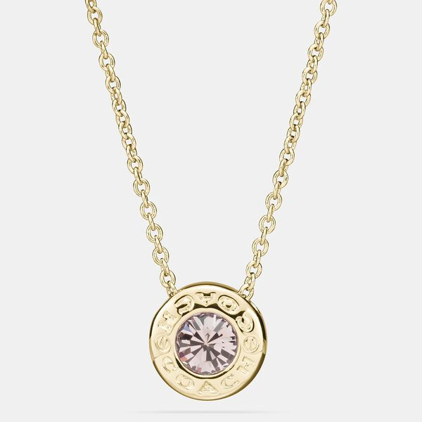Open Circle Stone Strand Necklace, GOLD, hi-res