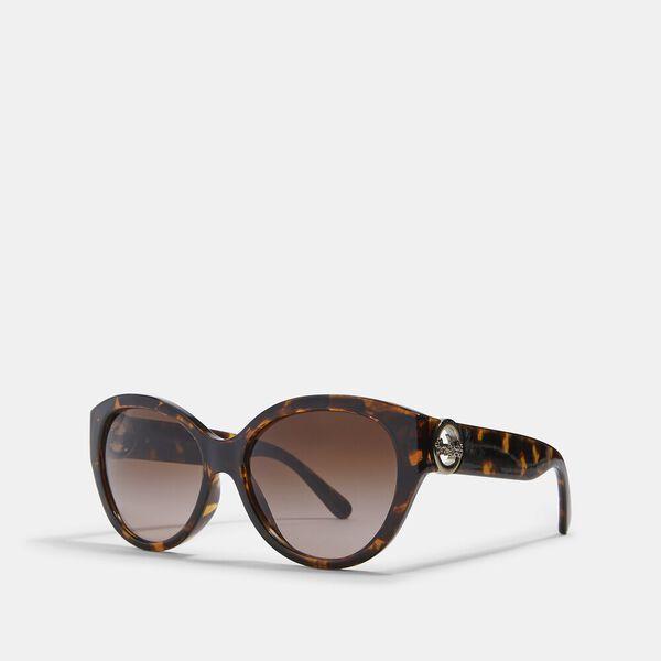 Oversized Metal Cat Eye Sunglasses, BROWN, hi-res