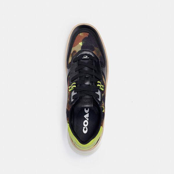Citysole Court Sneaker With Camo Print, BLACK NEON YELLOW, hi-res