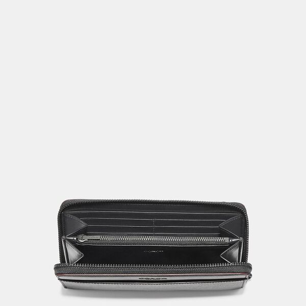 Accordion Wallet In Signature Canvas, BLACK/BLACK/OXBLOOD, hi-res