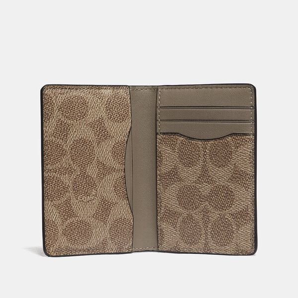Card Wallet In Colorblock With Signature Canvas Detail, KHAKI/FLAX, hi-res