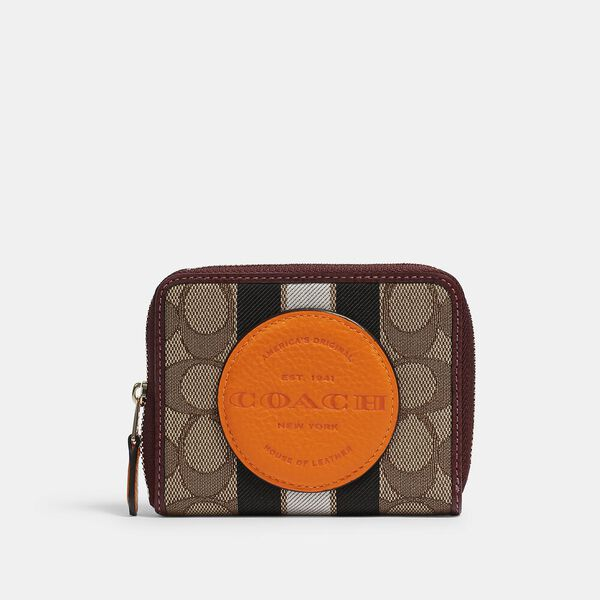Dempsey Small Zip Around Wallet In Signature Jacquard With Stripe And Coach Patch, IM/KHAKI SUNBEAM MULTI, hi-res