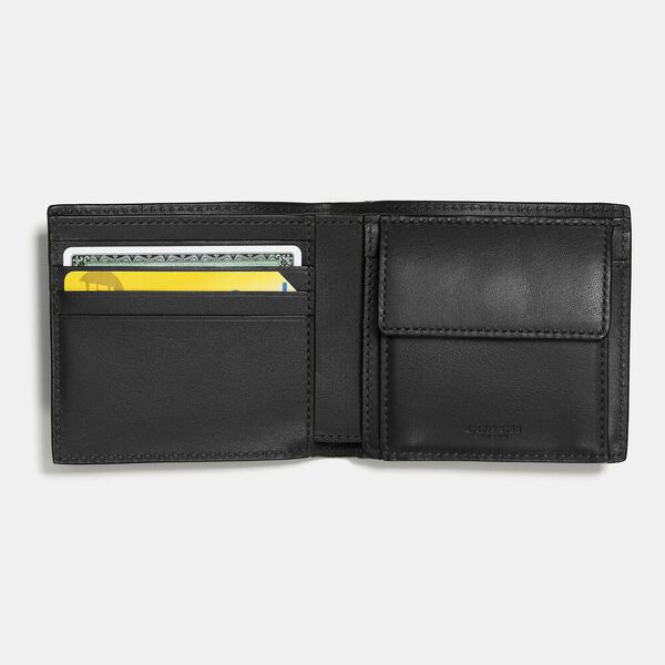 Coin Wallet In Signature Leather, BLACK, hi-res