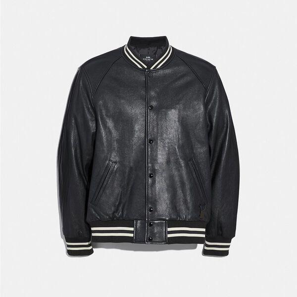 Leather Varsity Jacket, BLACK, hi-res