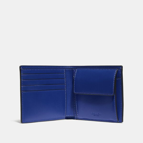 Coin Wallet In Signature Canvas With Reflective Coach Patch, CHARCOAL/SPORT BLUE, hi-res