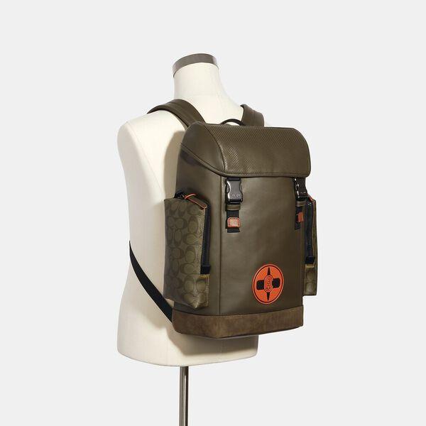 Coach X Michael B. Jordan Ranger Backpack With Signature Canvas Detail, QB/NINJA GREEN, hi-res