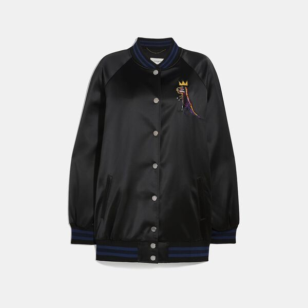 Coach X Jean-Michel Basquiat Oversized Varsity Jacket, BLACK, hi-res
