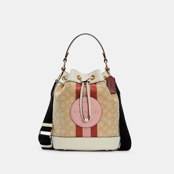 Dempsey Drawstring Bucket Bag In Signature Jacquard With Stripe And Coach Patch