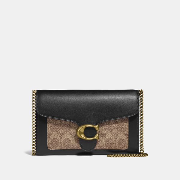 Tabby Chain Clutch In Colorblock Signature Canvas