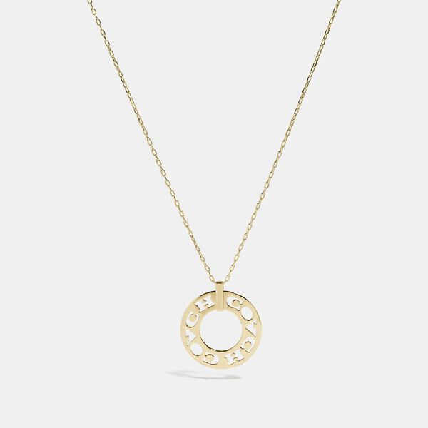 Pierced Coach Pendant Necklace, GOLD, hi-res