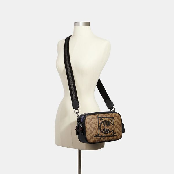 Vale Jes Crossbody In Signature Canvas With Rexy By Guang Yu, QB/KHAKI BLACK MULTI, hi-res