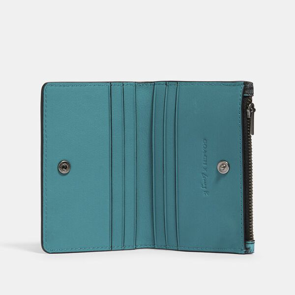 Slim Bifold Card Wallet In Signature Canvas With Rexy By Guang Yu, QB/CHARCOAL BLUE GREEN, hi-res