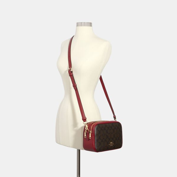 Jes Crossbody In Signature Canvas, IM/BROWN 1941 RED, hi-res