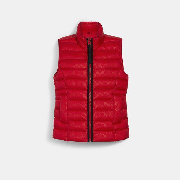 Signature Embossed Short Down Vest, POPPY, hi-res